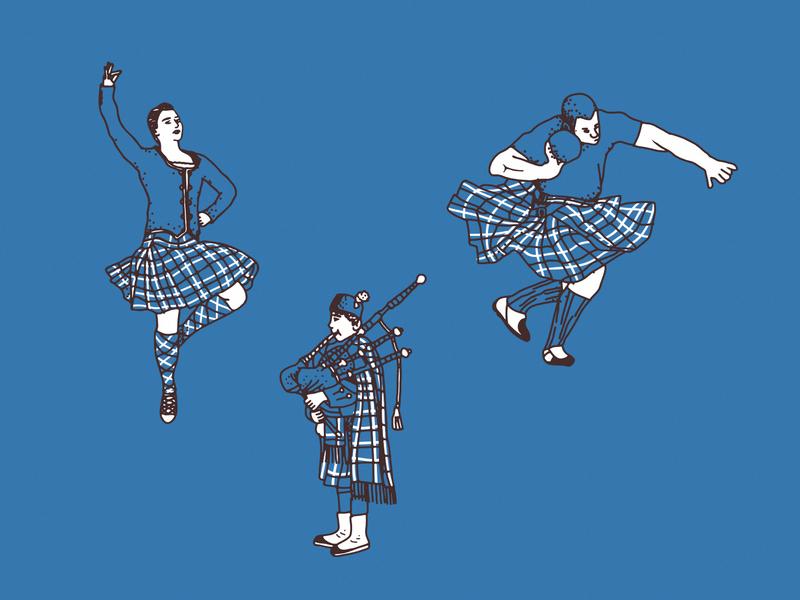 Las Vegas Highland Games plaid festival scotland celtic vegas nevada illustration