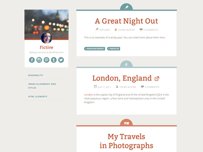 Fictive blog wordpress theme design web