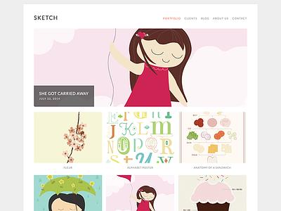 Sketch wordpress theme design web portfolio illustration
