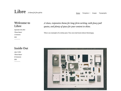 Libre longform writing simple minimal website design theme wordpress