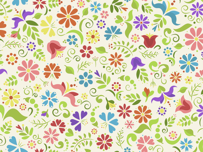 Repeating Floral Doodle spring colorful graphic floral illustration flowers