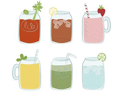 Mason Drinks tea smoothie water strawberry orange pink summer illustration drinks mason jars teepublic t-shirt