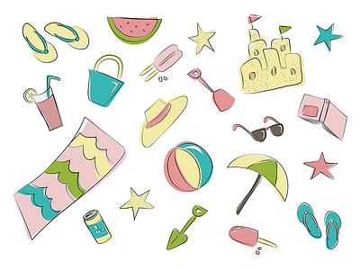 Summer Fun flipflops weather warm popsicle sandcastle beach summer doodle illustration sketch