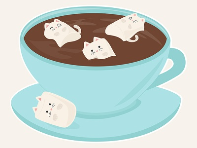 Marshmeowlows threadless kawaii cute funny caffeine cocoa coffee cats kitty kittens blue tea