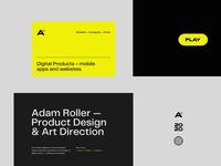 Portfolio 2020 typography logo personal branding concept ios digital product design ux  ui portfolio one page landing page webdesign web website sketch figma after effect illustration