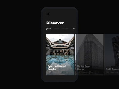 Post-Soviet Architecture Pt. 1 concept dark minimal photography urban design mobile app typography black on black minimalism hamburger home screen browse socialist modernism architecture soviet interactions ios ux ui animation