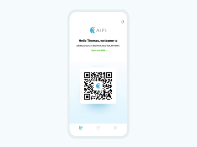AiFi Shopping Experience splash screen loading screen list location groceries receipt qrcode mobile app animation ios interactions ux  ui shop grocery app technology aifi