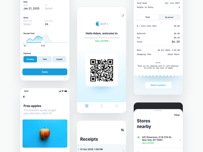 AiFi Shopping Experience ui ux design detail filter qrcode aifi technology shopping payment credit card receipt groceries ios app location list welcome screen shop