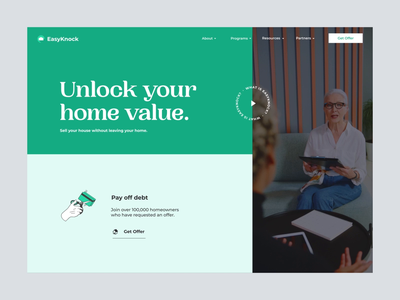 Landing Page — EasyKnock video background calculator loading animation interaction animations header hero image motion landing page web design product design branding motion graphics animation ui