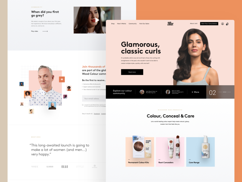 Josh Wood Colour Homepage website ux ui products pastel color women beauty colour hair landing page home page