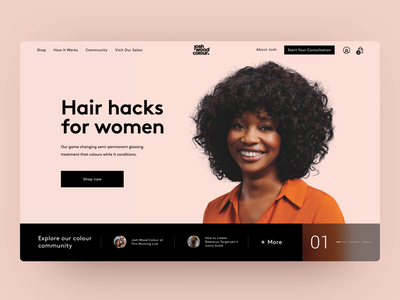 Josh Wood Colour Interactions video shop hair care onepage slider header loading animation interactions animation women website ui ux products pastel color landing page home page colour hair beauty