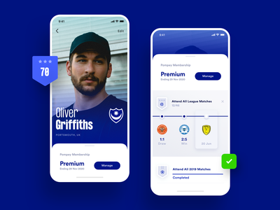Sports Club iOS Concept statistics badge achievement fan sports club soccer football football club membership ux ui stats user profile iphone sport
