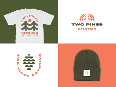 Two Pines Kitchen & Catering food delivery chef kitchen food branding design merch brand logo logo design