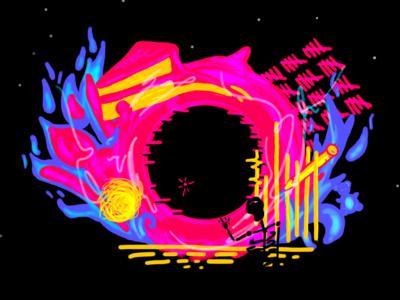 The Black Hole hidden 18 neon trippy skeleton space