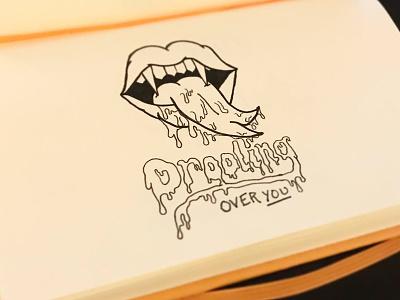 Drooling drips lettering hand lettering illustration hallowtines halloween vampire valentine drooling lips inktober