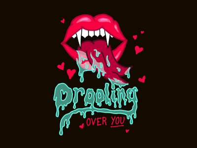 Drooling Colored lettering illustration hand lettering inktober2018 sexy love hallotines halloween valentine drooling vampire lips inktober