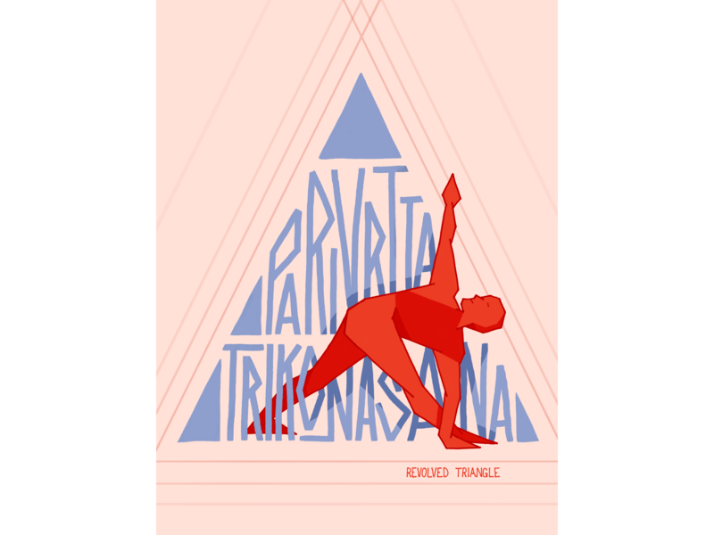 Revolved Triangle triangle yoga pose yoga design character figure handlettering lettering illustration hand lettering