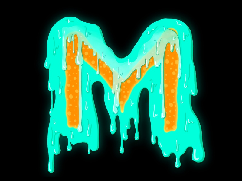 M transparent circles dots m liquid liquid type goo fluid drip organic alien nature neon design glow handlettering 36 days of type lettering illustration hand lettering