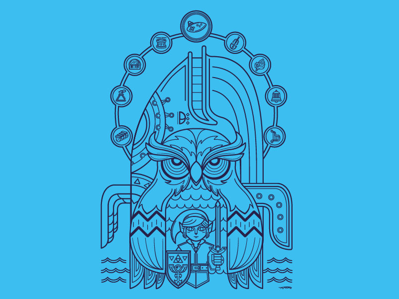 The Ballad of the Wind Fish video game link design blue fish wind whale owl hero gameboy nintendo awakening zelda legend illustration vector fan art