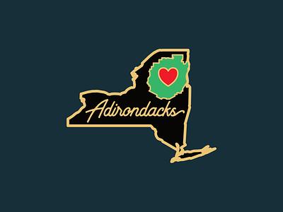 Alternate Adirondacks of New York Pin state new york heart adirondack park mountains adirondacks pin enamel