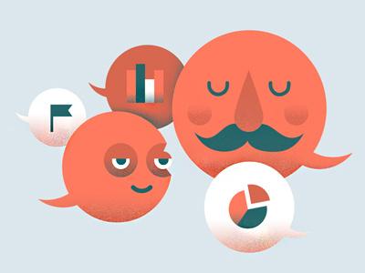 Talk to me word-bubbles icons mustache mustachio flag stats speech-bubbles illustration mention pie-chart