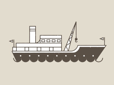 Toot-toot! boat ship cargo-boat maritime nautical waves illustration