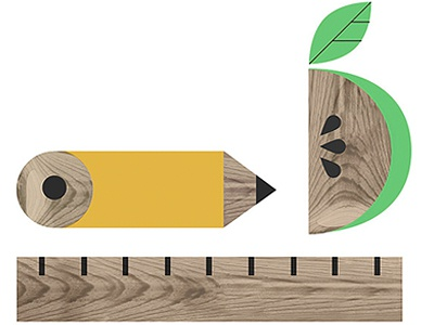 A B C 1 2 3 illustration school pencil apple ruler woodgrain geometric