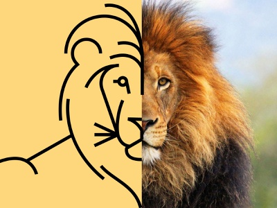 If I were king of the forest lion graphic design icons icon thicklines geometric illustration animals