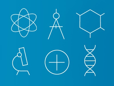 Skinny-ScienceCons science icons helix dna chemistry molecule physics microscope mathematics math