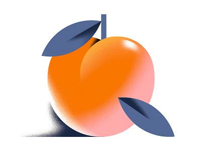 A juicy, ripe peach grain geometric illustration fruit illustration peach fruit