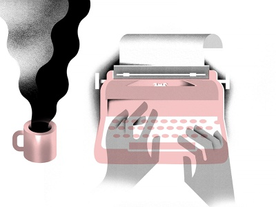 click click clickity click texture geometric coffee editorial illustration hands illustration typewriter