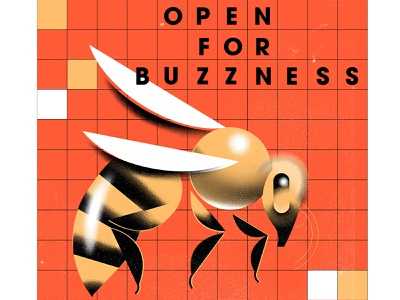 open for buzzes animal illustration animal buzz wasp bee grain geometric illustration