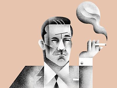 The Don mad-men illustration art-nouveau texture don-draper smoking 2-colors portrait character
