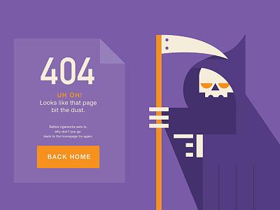 404 - Uh oh! 404 error illustration character-design grim-reaper death skeleton geometric flat huboard