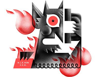B.L.Z. BUB devil satan spot-illustration editorial-illustration article boss demon beelzebub phone fire hell