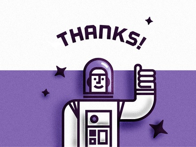 LIFT OFF! astronaut space thanks thank-you thumbs-up stars typography grain launch