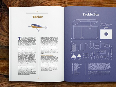Fishing — Interior Spread illustration layout typography print infographics infographic fishing tackle photography fish