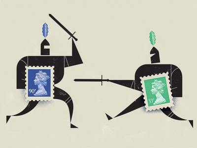En Garde! illustration knights armor sword fight medieval stamp
