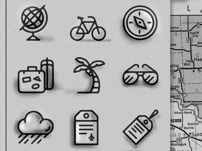 VayCayCons travel icon icons compass bike glove luggage palm-tree sun-glasses luggage-tag rain