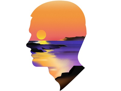 Santorini santorini sunset profile illustration travel greece airbrush grain sun