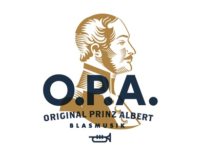 Original Prince Albert - Logo branding illustration logo bust prince prince-albert royal british trumpet music symphony
