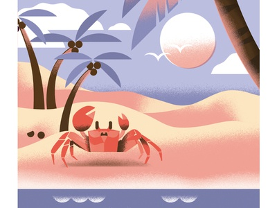 Crabby ocean swim summer palm-tree beach crab travel nature illustration