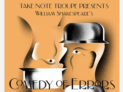 Comedy of Errors typography 20s art-deco hat illustration poster play shakespeare