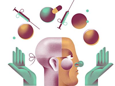The Vaccination  editorial spot-illustration juggling doctor shot clown