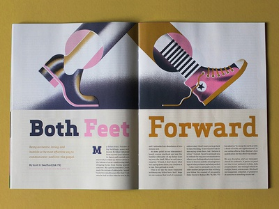 Both Feet Foward - [Full Project] converse texture grain illustration editorial-illustration magazine walk shoes feet byu