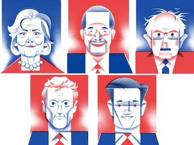 Presidential Portraits - [Full Project] voting candidates president portrait portraits illustration