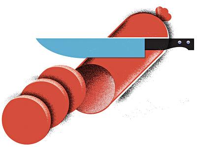 Pass the Sausage geometric grain illustration deli meat knife sausage food