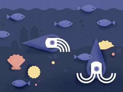 Going Deeper illustration geometric animals shell ocean under-water deep-sea fish