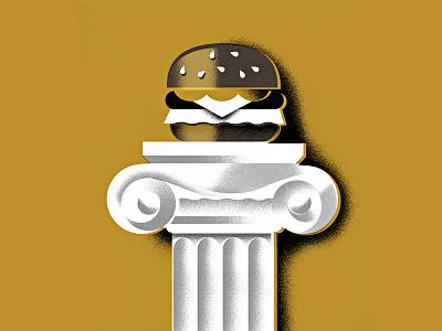 the Almighty Burger pillar texture noms eat restaurant hamburger burger illustration