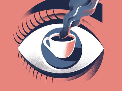 Eye Spy grain smoke magritte surreal lashes coffee eye illustration